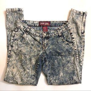JouJou Acid Wash Blue Teal Jeans sz 3/4